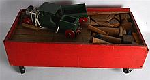 A VINTAGE TRIANG CARVED WOOD CHILD TRAIN together with other associated ite