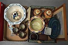 TWO BOXES OF VARIOUS COLLECTABLES including Japanese satsuma jars, retro ce