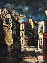 DUTCH SCHOOL (20th Century), Framed Oil on Canvas, Dark street scene. 2ft 1