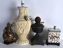 FOUR LAMPS of various designs and sizes. (4)