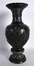 A 19TH CENTURY JAPANESE MEIJI PERIOD CHAMPLEVE ENAMEL BRONZE VASE overlaid