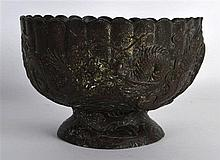 A 19TH CENTURY JAPANESE MEIJI PERIOD LOBED SPELTER BOWL decorated in relief