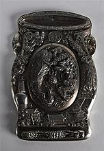 A CHINESE CARVED SILVERED BRUSH WASHER AND COVER decorated in relief with d
