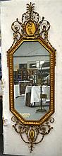 A LOVELY LARGE NEO CLASSICAL ADAMS STYLE GILTWOOD MIRROR decorated with a f