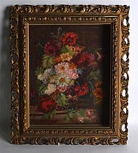 CONTINENTAL SCHOOL (Early 20th Century), Framed Oil on Board, Still life Fl