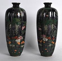 AN UNUSUAL PAIR OF EARLY 20TH CENTURY JAPANESE MEIJI PERIOD LOBED VASES decorated with birds in flight. 6.25ins high.