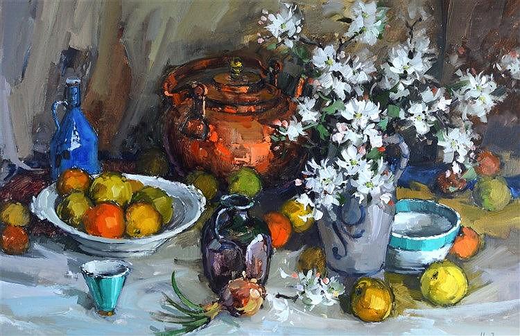 H.Zeegers (20th Century) Still Life Oil on Canvas.