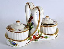 ROYAL WORCESTER VERY RARE INKSTAND/DESK SET painted with birds by Richard H