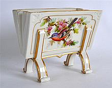 ROYAL WORCESTER UNUSUAL LETTER STAND painted with birds, wagtail and chaffi