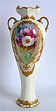 EARLY 20TH C. ROYAL DOULTON TWO-HANDLED VASE, of elongated baluster form, p
