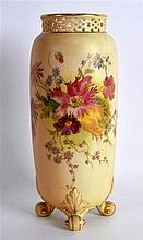 ROYAL WORCESTER FOUR FOOTED VASE with short pierced neck shape G42 large si