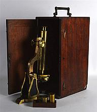 A LATE VICTORIAN W HEATH OPTICAL MICROSCOPE contained within its original f