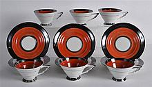 20TH ART DECO STYLE FRENCH PORCELAIN SET OF SIX CUPS AND SAUCERS, marked st
