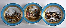 A SET OF THREE 19TH CENTURY PARIS POWDER BLUE PORCELAIN PLATES painted with