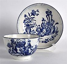 18TH C. CAUGHLEY TEABOWL AND SAUCER printed with Bell Toy and Mother and Ch