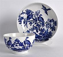 18TH C. WORCESTER TEABOWL AND SAUCER printed with Birds in Branches pattern