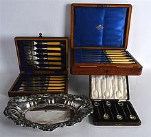 A CASED SET OF SILVER COFFEE BEAN SPOONS together with two other cased sets