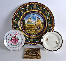 FAÏENCE CHARGER IN 18TH C. STYLE, an English pottery tile printed with deer