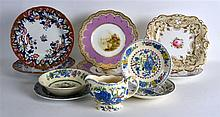 19TH C. BROWN WESTHEAD AND MOORE LAVENDER BORDERED PLATES painted with land