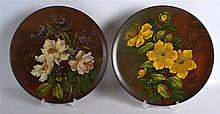 A PAIR OF 19TH CENTURY WATCOMBE POTTERY TORQUAY WARE PLATES painted with fl