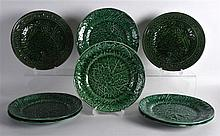 A SET OF SIX 19TH CENTURY DAVENPORT CABBAGE WARE PLATES together with anoth