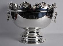 A LARGE SILVER PLATED MONTEITH BOWL with lion mask head handles. 1ft 5ins w