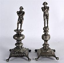 TWO 19TH CENTURY CONTINENTAL SILVER FIGURES OF NAPOLEON modelled with arms