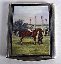 AN ART DECO EUROPEAN SILVER AND ENAMEL CIGARETTE CASE painted with jockeys