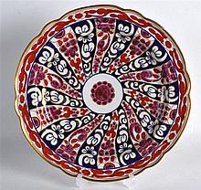 EARLY 19TH C. SHAPED PLATE painted with the Queen Charlotte pattern, incise