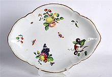 18TH C, CHELSEA DERBY DISH painted with fruit, anchor D mark in gold.  10.5