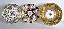 EARLY 20TH C. CAULDON PLATE painted with roses in turquoise panels with rai