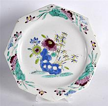 18TH C. BOW EARLY FAMILLE ROSE OCTAGONAL PLATE with rocks and flowers.  8.2