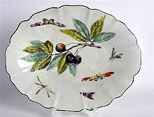 18TH C. DERBY DISH painted with fruit and insects.  9.75