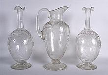 A GOOD LATE VICTORIAN/EDWARDIAN GARNITURE OF GLASSWARE comprising of a pair