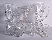 SIX PIECES OF CUT GLASSWARE including a vase, basket etc. (6)