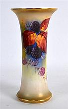 ROYAL WORCESTER WAISTED SPILL VASE painted with autumnal leaves and berries