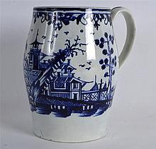 18TH C. LARGE BARREL SHAPED MUG painted in underglaze blue with Chinese lan