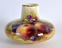 ROYAL WORCESTER RARE VASE with short neck and compressed body painted with