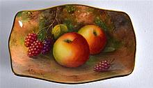 ROYAL WORCESTER PIN TRAY painted with fruit by Albert Shuck, signed, date c
