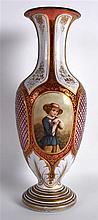 A GOOD 19TH CENTURY BOHEMIAN RUBY AND WHITE ENAMEL OVERLAID VASE set with a