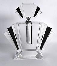 AN ART DECO STYLE BLACK AND CLEAR GLASS SCENT BOTTLE AND STOPPER. 9.25ins h