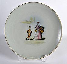 A MID 19TH CENTURY ENGLISH PINDER BOURNE PLATE painted with a female and a