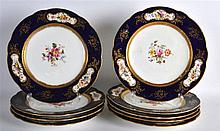 A SET OF NINE EARLY 20TH CENTURY COALPORT PORCELAIN PLATES painted with flo
