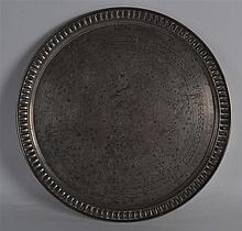 A GOOD HEAVY 19TH CENTURY RUSSIAN CIRCULAR SILVER TRAY engraved with flower