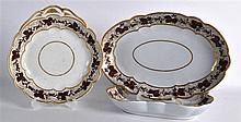 EARLY 19TH C. FLIGHT BARR SQUARE DISH, oval dish and shell painted with bro