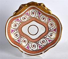 19TH C. REGENCY SHELL SHAPED DISH with Greek key borders and neo-classical