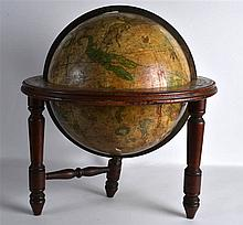 AN UNUSUAL 19TH CENTURY EUROPEAN PAINTED GLOBE decorated all over with vari
