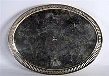 AN 18TH/19TH CENTURY DUTCH SILVER TRAY engraved with a crest. 15oz. 11.25in