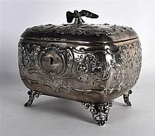 A 19TH CENTURY CONTINENTAL SILVER CASKET AND COVER with eagle finial, decor
