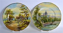 ROYAL WORCESTER PAIR OF PLATES with views of St. Pauls from the River and W